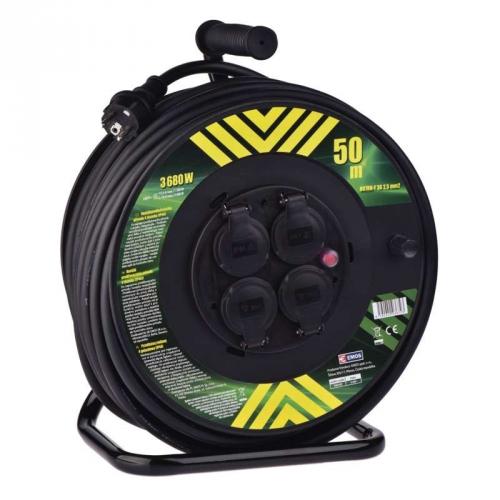 Kabel prodlužovací na bubnu EMOS 4x zásuvka, 50m, neopren černá