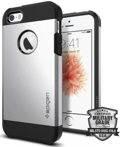 Spigen Tough Armor Apple iPhone 5/5s/SE stříbrný (041CS20251)