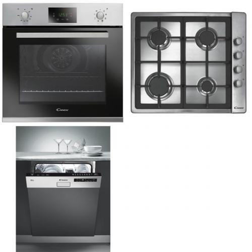 Set (Plynová varná deska Candy CLG 64 SGX) + (Myčka nádobí Candy CDS 2D35X) + (Trouba Candy FPE439A/6X)