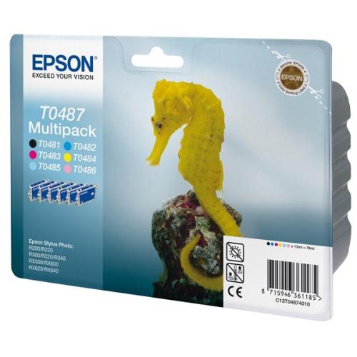 Epson T0487, 6x 13ml - originální černá/červená/modrá/žlutá