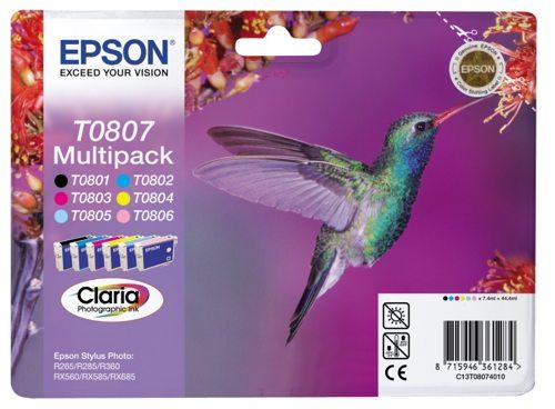 Epson T0807, 6x 7ml černá/modrá/žlutá/růžová