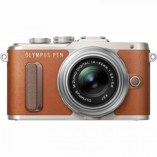 Olympus PEN E-PL8 stříbrný/hnědý ()