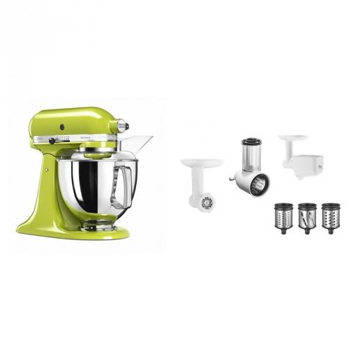 Set (Příslušenství k robotům KitchenAid 5KSMFPPC) + (Příslušenství k robotům KitchenAid 5FPPC) + (Kuchyňský robot KitchenAid Artisan 5KSM175PSEGA)