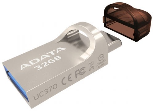 ADATA UC370 32GB, USB 3.1 + USB-C, OTG zlatý