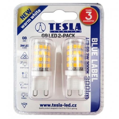 Tesla bodová, 3W, G9, teplá bílá bílá