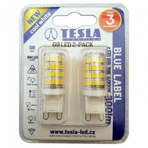 Fotografie Žárovka LED Tesla bodová, 3W, G9, teplá bílá TESLA