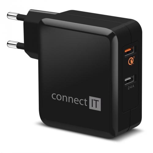 Connect IT 2x USB (3,4A), s funkcí rychlonabíjení QC 3.0 černá