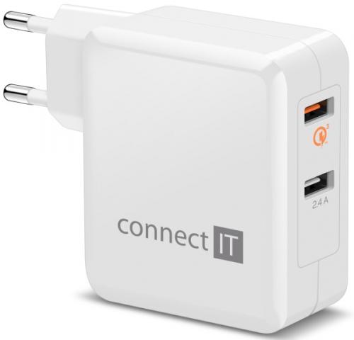 Connect IT 2x USB (3,4A), s funkcí rychlonabíjení QC 3.0 bílá