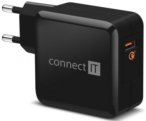 Connect IT InCarz, 1x USB (3A), s funkcí rychlonabíjení QC 3.0 černá