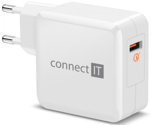 Connect IT InCarz, 1x USB (3A), s funkcí rychlonabíjení QC 3.0 bílá