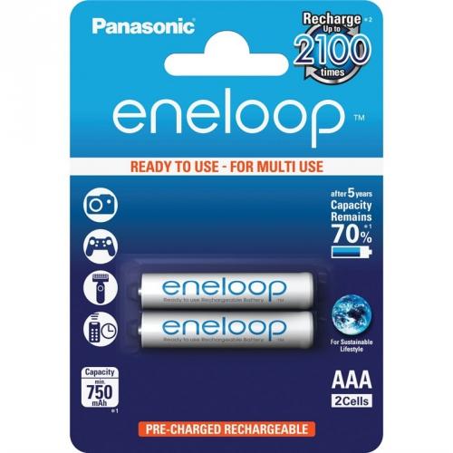 Baterie nabíjecí Panasonic Eneloop AAA, HR03, 750mAh, Ni-MH, blistr 2ks