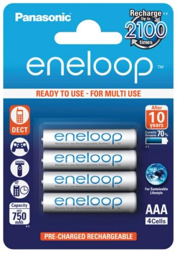 Baterie nabíjecí Panasonic Eneloop AAA, HR03, 750mAh, Ni-MH, blistr 4ks