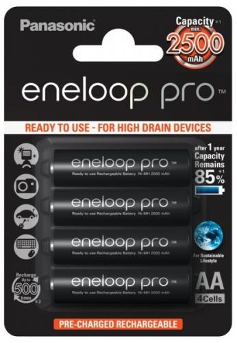 Baterie nabíjecí Panasonic Eneloop Pro AA, HR06, 2500mAh, Ni-MH, blistr 4ks