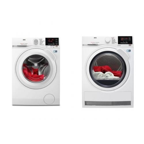 Set (Sušička prádla AEG AbsoluteCare® T8DBG48WC) + (Automatická pračka AEG ProSense™ L6FBG49WC)