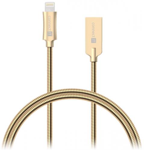 Connect IT Wirez Steel Knight USB/Lightning, ocelový, opletený, 1m zlatý