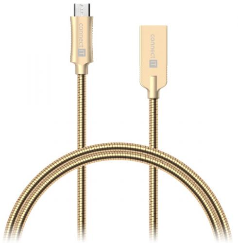 Connect IT Wirez Steel Knight USB/micro USB, ocelový, opletený, 1m zlatý (CCA-3010-GD)