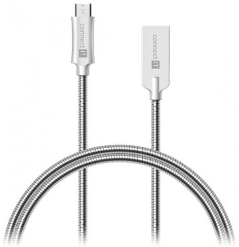 Connect IT Wirez Steel Knight MicroUSB, 1m, ocelový, opletený stříbrný