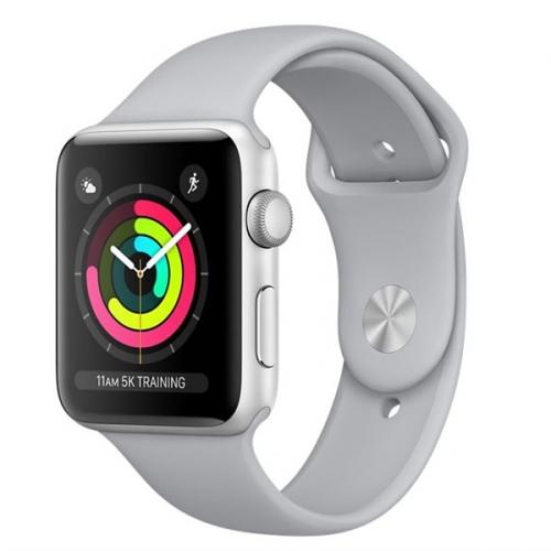 Apple GPS 38mm pouzdro ze stříbrného hliníku - mlhově šedý sportovní řemínek