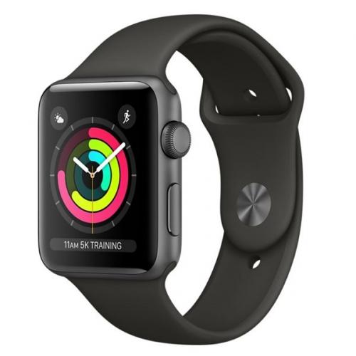 Apple GPS 42mm pouzdro z vesmírně šedého hliníku - šedý sportovní řemínek