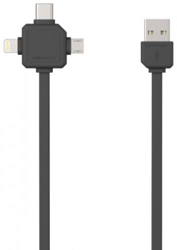Powercube USB / MicroUSB + Lightning + USB-C, 1,5m černý