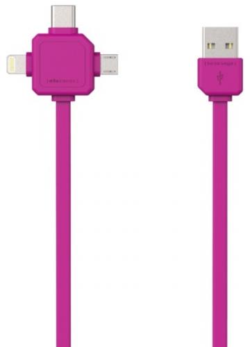 Powercube USB / MicroUSB + Lightning + USB-C, 1,5m růžový