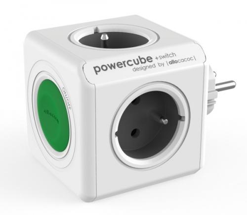 Powercube Original Switch, 4x zásuvka šedý/bílý/zelený