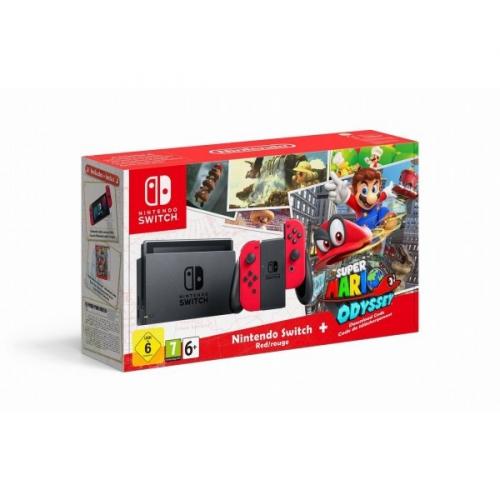 Nintendo Switch s Joy-Con - šedá/ červená + Super Mario Odyssey šedá/červená