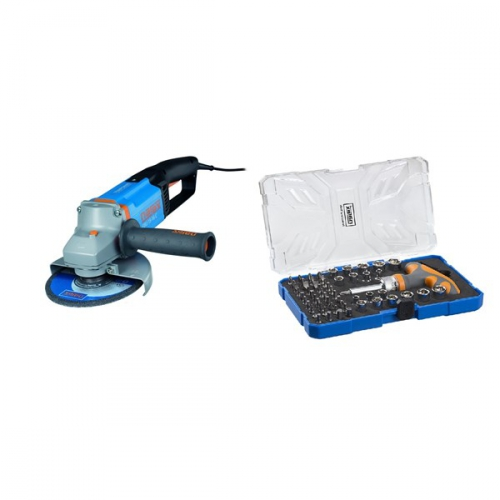Set (Sada bitů Narex 61-Tool Box) + (Úhlová bruska Narex EBU 15-16 C)