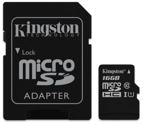 Kingston MicroSDHC 16GB UHS-I U1 (80R/10W) + adapter