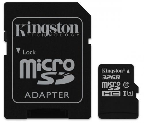 Kingston MicroSDHC 32GB UHS-I U1 (80R/10W) + adapter