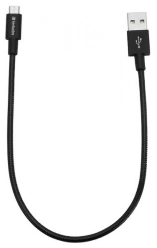 Kabel Verbatim Sync & Charge USB/micro USB, 30cm, nerezová ocel černý