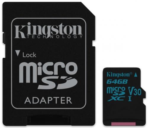 Kingston MicroSDXC 64GB UHS-I U3 (90R/45W) + adapter