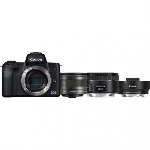 Canon M50 + M 15-45 IS STM + obj. 50/1.8 + ADAPTER
