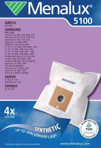 Fotografie Sáčky do vysavače MENALUX 5100 syntetické 4ks, sáčky pro Samsung Menalux