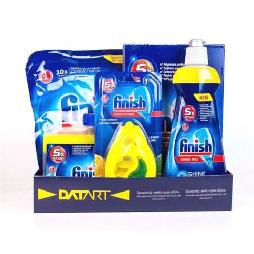 Fotografie Příslušenství k myčce Finish Starter pack pro myčky - tablety, sůl, leštidlo, osvěžovač, čistič