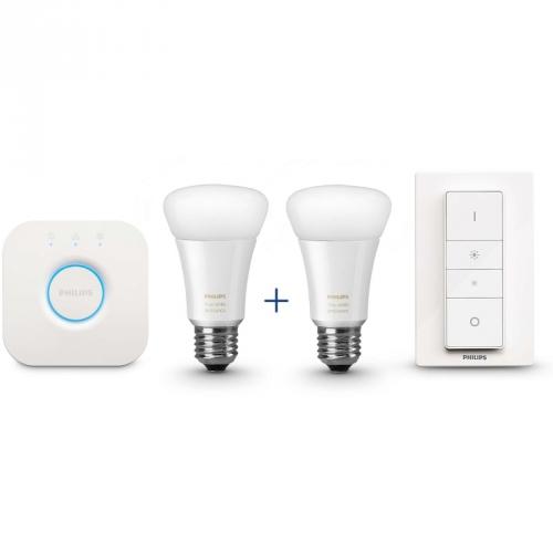 Philips Hue white ambiance, 9,5W, E27 ((2x LED žárovka + bridge + ovladač)