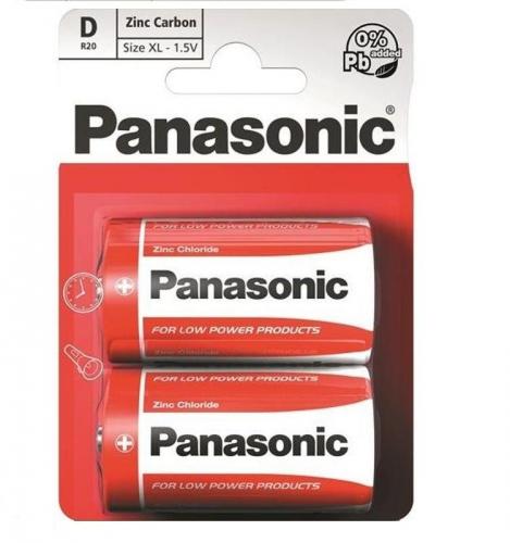 Baterie zinkouhlíková Panasonic D, R20, blistr 2ks