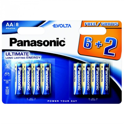 Baterie alkalická Panasonic Evolta AA, LR06, blistr 6+2ks