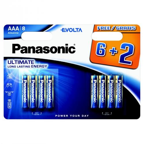 Baterie alkalická Panasonic Evolta AAA, LR03, blistr 6+2ks