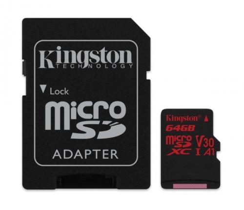 Kingston microSDXC 64GB UHS-I U3 (100R/80W) + adaptér