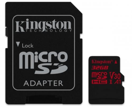 Kingston microSDHC 32GB UHS-I U3 (100R/70W) + adaptér