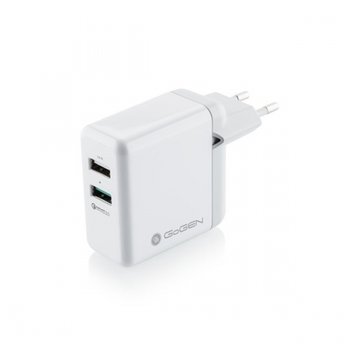 Nabíječka do sítě GoGEN ACHQ 203, 2x USB, 2,4A s funkcí rychlonabíjení QC 3.0 bílá
