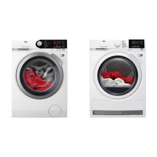 Set (Sušička prádla AEG AbsoluteCare® T8DBG48WC) + (Automatická pračka AEG ProSteam® L7FBE48SC)