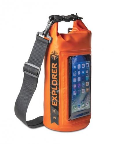 """Celly Voděodolný vak Explorer 2L s kapsou na telefon do 6,2"""" - oranžový"""