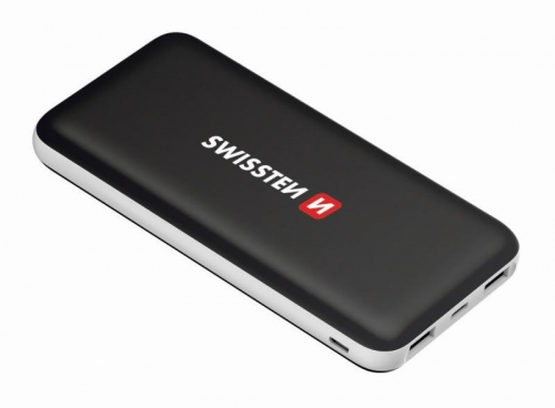 Powerbank Swissten Black Core Slim 10000mAH, USB-C černá