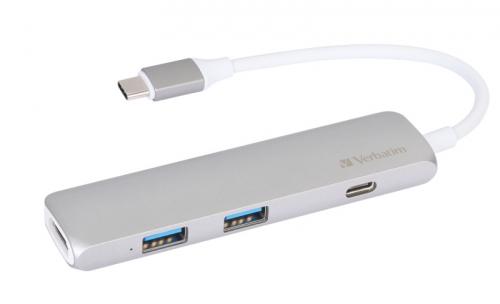 USB Hub Verbatim USB-C ,2x USB 3.0, HDMI šedý