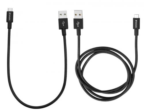 Kabel Verbatim USB/micro USB, 1m + 0,3m černý