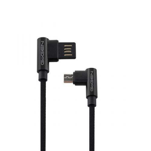 Kabel GoGEN USB/micro USB, 1m, oboustraný, opletený černý