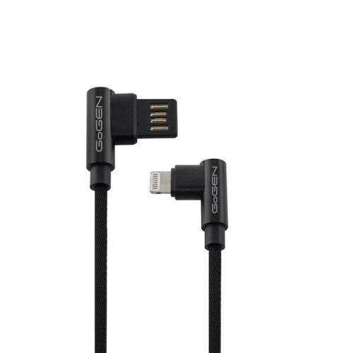 Kabel GoGEN USB/Lightning, 1m, oboustraný, opletený černý
