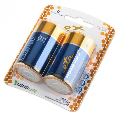 Baterie alkalická ETA PREMIUM ALKALINE D, LR20, blistr 2ks